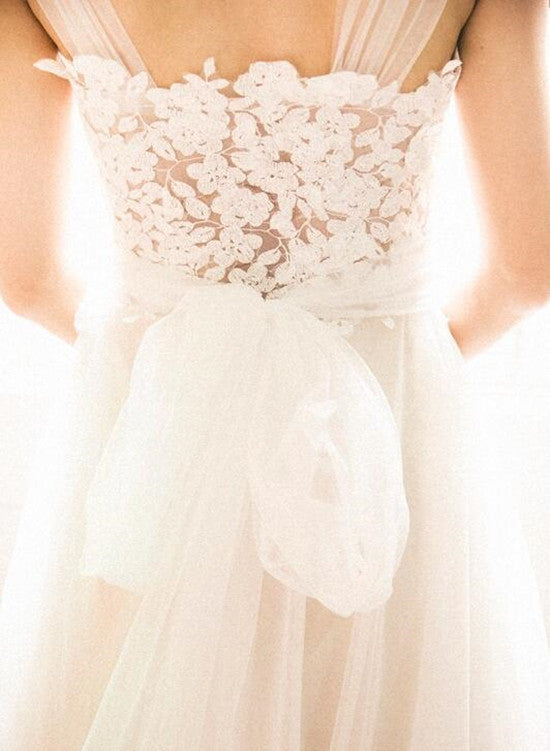 Simple Pretty Ivory Tulle Beach Wedding Dresses, Wedding Gowns ...
