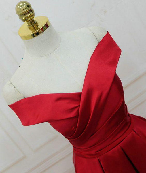 Popular Red Satin Off Shoulder Prom Dresses 2018, Prom Party Dresses, Formal Gowns