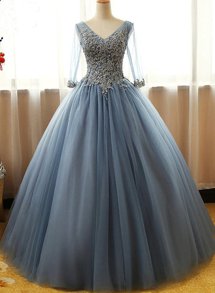 Gorgeous Long Blue Half Sleeve Prom Dresses, Floor-length Long Dusty Blue Ball Gown Party Dress
