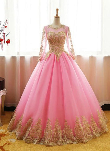 Pink Long Sleeves Tulle Party Dress with Gold Applique, Long Formal Dresses 2019