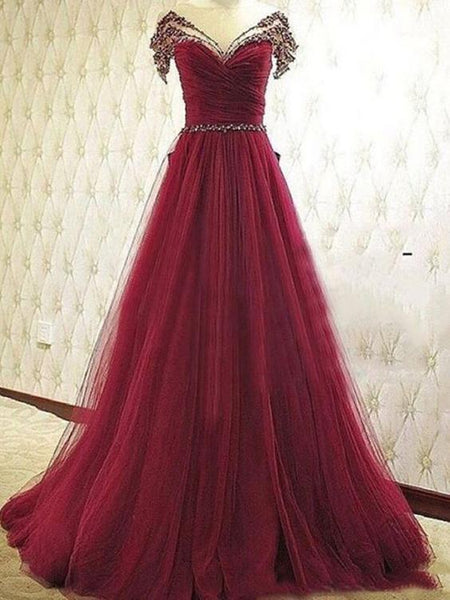 Burgundy Tulle Beaded New Style Party Dress, Long Formal Dresses 2019