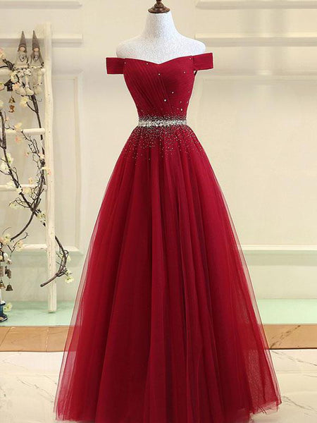 Charming Off Shoulder Beaded Party Dress 2019, A-line Floor Length Party Dress 2019