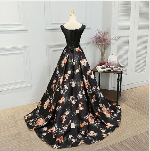 Black Floral Prom Gown, Prom Dress 2018, Party Dresses for Sale