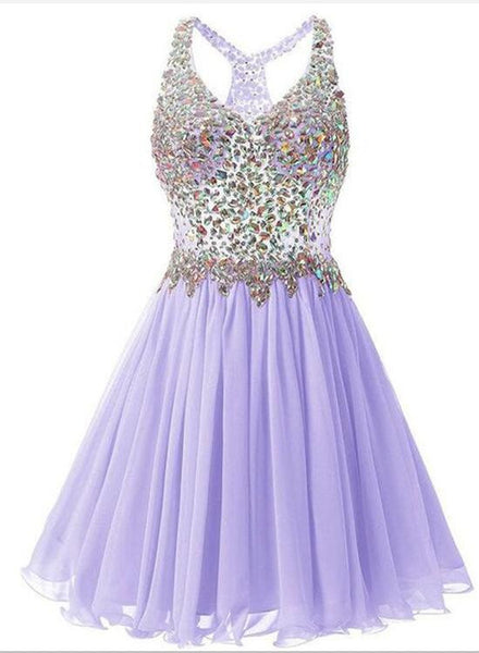 Beautiful Lavender Chiffon Homecoming Dress, Crystal Beaded  Party Homecoming Dress For Girls, Vestidos De Festa