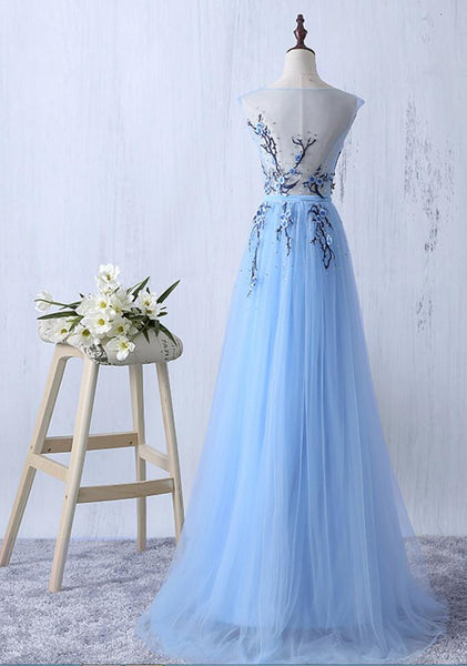 Light Blue Tulle Long Formal Dress with Embroidery, Beautiful Party Gowns 2019