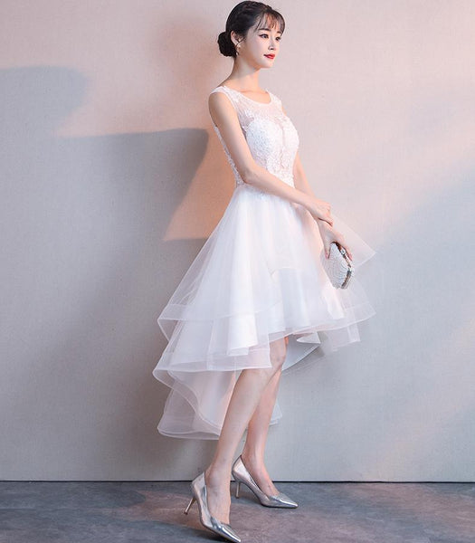 White High Low Graduation Dress 2019, Tulle and Lace Party Dresses