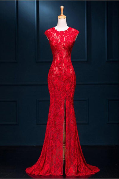Red Lace Mermaid Slit Long Elegant Formal Gown 2019, Red Party Dresses