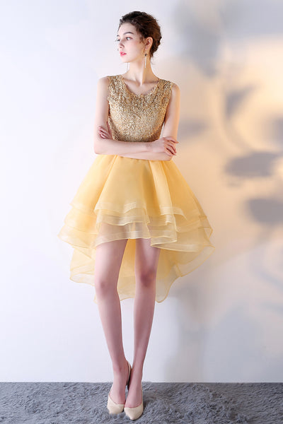 Light Yellow Organza and Lace High Low Party Dress, Short Cute Prom Dress Homecoming Dress