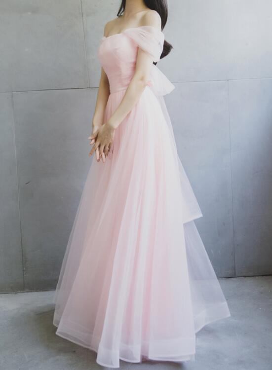 Light Pink Tulle Off Shoulder Party Dress With Bow Soft Pink Formal