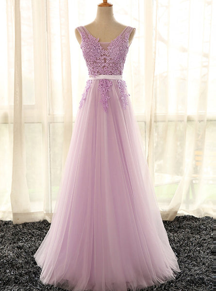 Lovely Tulle Lilac V-neckline Party Dress, Long Evening Gown
