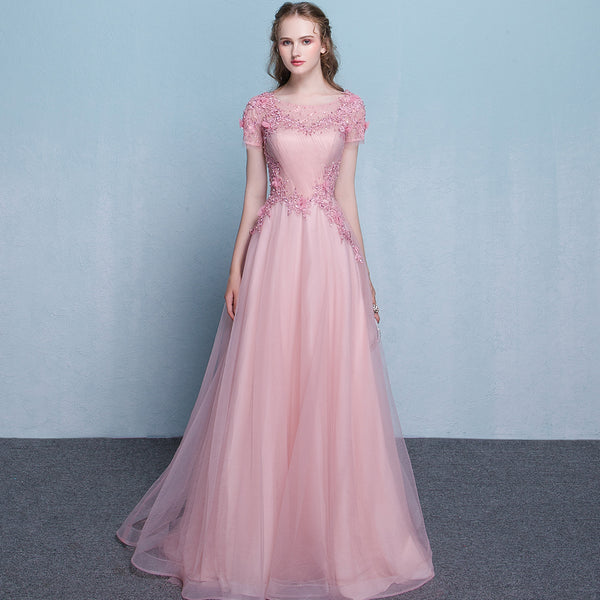 Lovely Pink Tulle Long Flowers and Lace Applique Long Formal Gown, Pink Tulle Party Dress Evening Dress