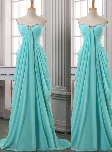 Charming Chiffon Long A-line Prom Dresses, Blue Sleeveless With Beadings Sweep Train Evening Gowns