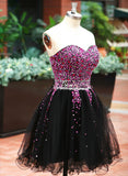 Gorgeous Black Homecoming Dresses, Beaded Sweetheart Cute Formal Dress, Sweetheart Short Prom Dress