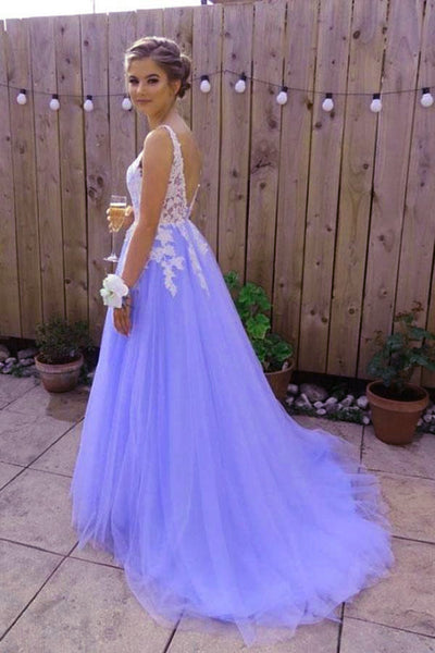 Beautiful Light Purple Tulle Dress, White Lace and Lavender Prom Dress
