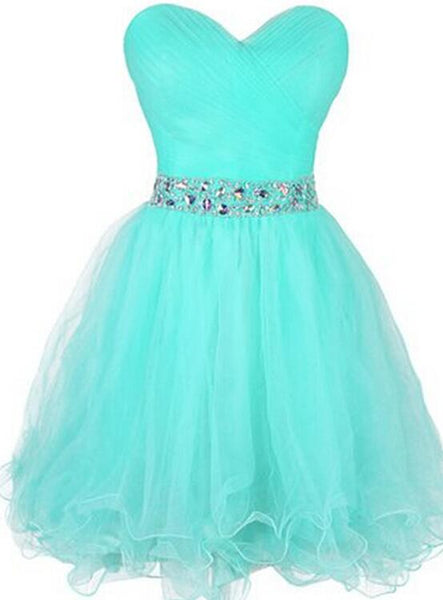 Mint Blue Short Tulle Beaded Homecoming Dresses, Sweetheart Knee Length Prom Dress 2018, Formal Gowns