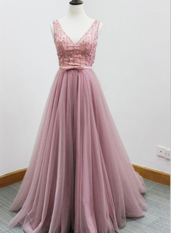 Pretty Pink Tulle V-neckline Beaded Prom Dresses 2018, Sparkle ...