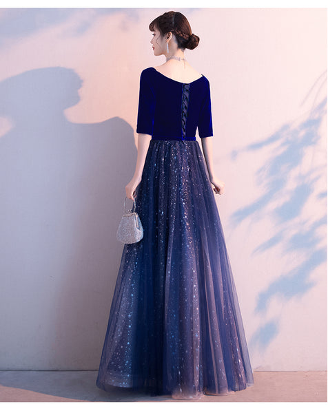 Navy Blue Velvet Short Sleeves with Shiny Tulle Long Party Dress, Blue Bridesmaid Dress Prom Dress