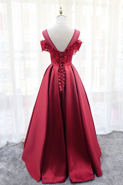 Red Satin Long Lace Off Shoulder Lace-up Elegant Party Dress, Senior Prom Gowns 2019