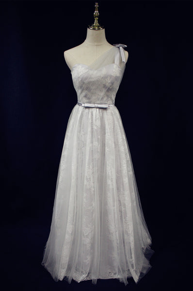 Beautiful Light Grey One Shoulder Lace-up Bridesmaid Dress, Lovely Grey Party Dress