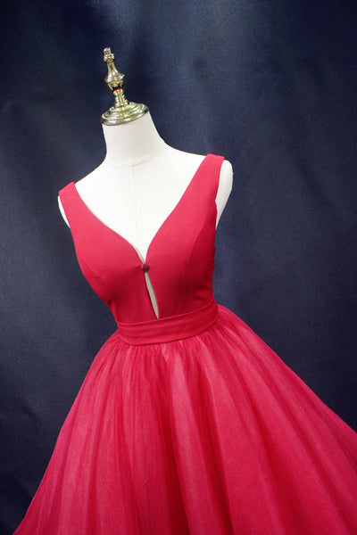 Beautiful Red Tulle Backless Long Sexy Lace-up Party Dress, Gorgeous Red Formal Gown