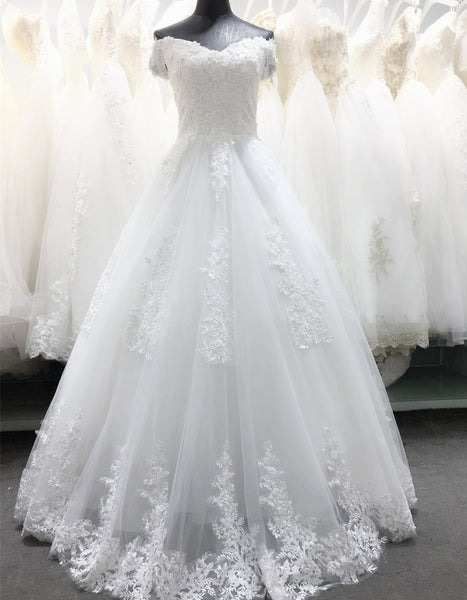 Simple White Tulle with Beautiful Lace Applique Wedding Gown, Off Shoulder New Wedding Dresses
