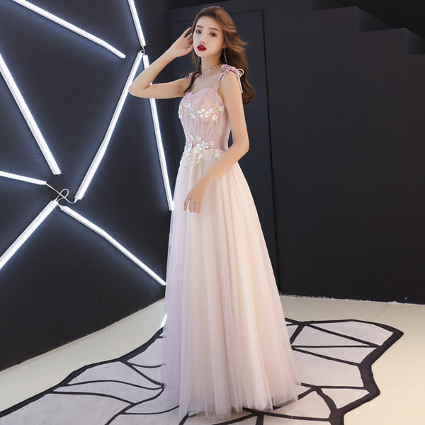 Lovely Pink Straps Long Formal Gown, Evening Party Dresses 2019, Prom Dresses 2019
