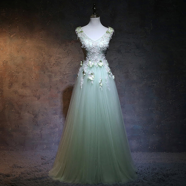 Beautiful Light Green V-neckline Tulle Party Gown, A-line Tulle Prom Dress