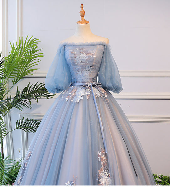 Blue Tulle Floral Off Shoulder Princess Formal Dress, Blue Sweet 16 Dress, Prom Dress