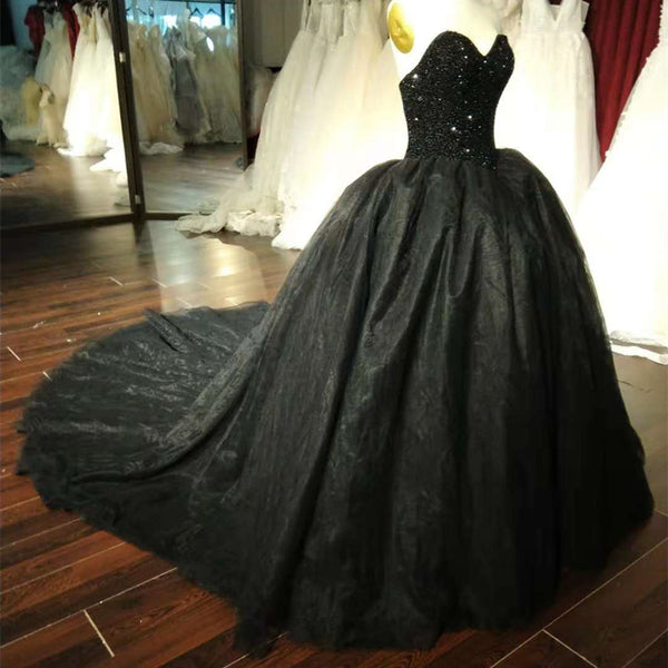 Gorgeous Black Sweetheart Crystal Ball Gown Sweet 16 Dress, Black Party Gown