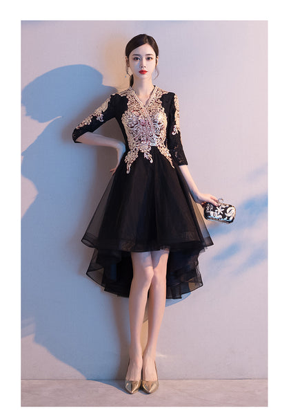 Black Tulle High Low Dress with Lace Applique, Short Wedding Party Dress