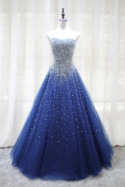Gorgeous Sparkle Blue Sweet 16 Dress, Handmade Beaded Formal Gown, Junior Prom Dress