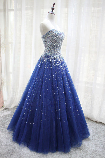Navy Blue Sparkle Sequins Lace-up Long Formal Gown, Evening Party Gowns 2019