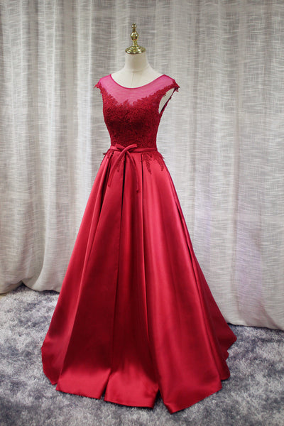 Beautiful Satin Red Handmade Junior Prom Dress 2019, Satin Party Gowns 2019