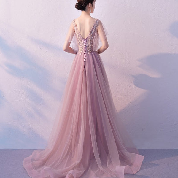 Beautiful Pink Tulle Party Dress with Train, A-line Prom Dress 2020