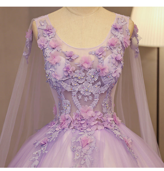 Charming Lavender Tulle Flowers Long Prom Dress, Sweet 16 Gowns