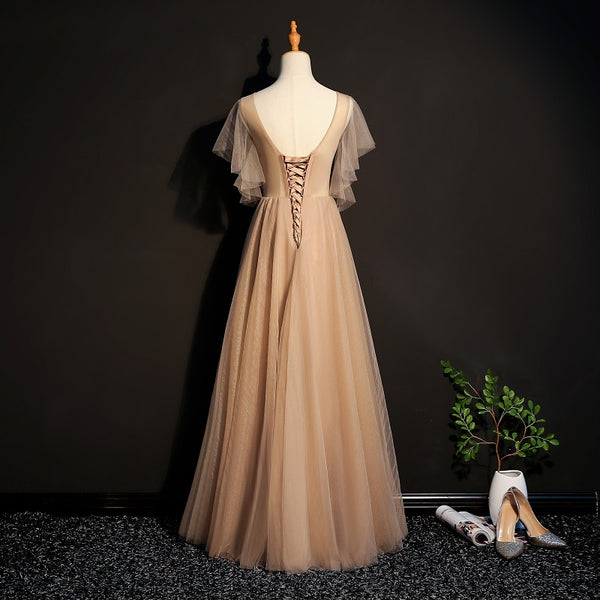 Champagne Tulle Long Bridesmaid Dress, Long Formal Gown 2020