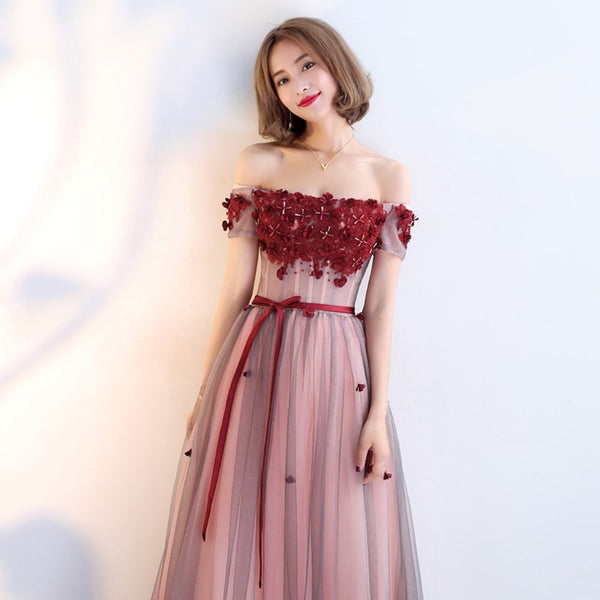 Beautiful Red Off Shoulder Tulle with Applique Long Party Dress, Senior Prom Gown
