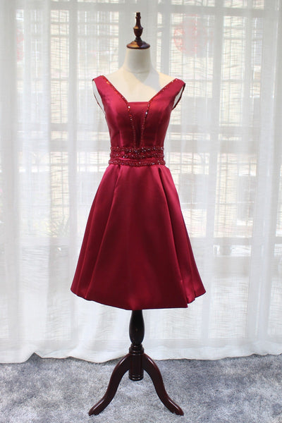 Beautiful Dark Red Satin V-neckline Party Dress, Charming Short Homecoming Dress