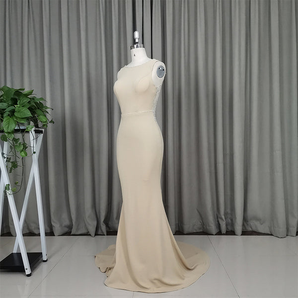 Charming Champagne Mermaid Backless Evening Gown, Lace Applique Party Dress 2020