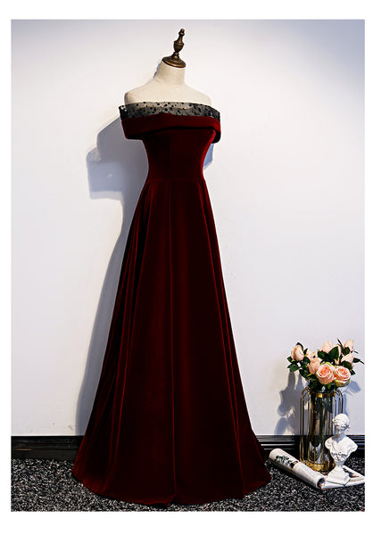 Dark Red Velvet Long Party Dress