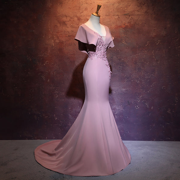 Elegant Mermaid Pink Long Evening Gown, Beautiful Prom Dress
