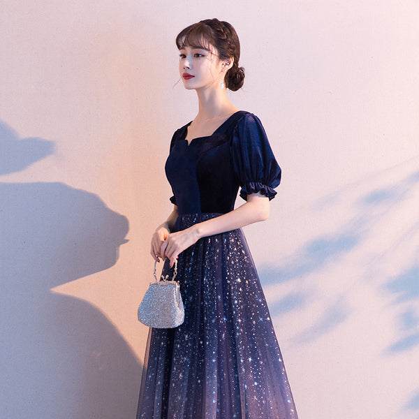Sparkle Tulle with Velvet Short Sleeves Long Formal Dress, Bridesmaid Dress