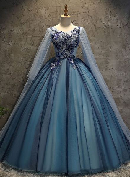 Blue Tulle Ball Gown Long Sweet 16 Dress with Lace Applique, Prom Dress