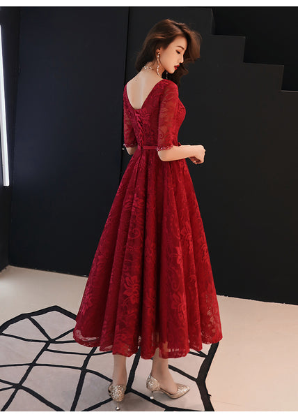 Beautiful Wine Red V-neckline Tea Length Party Dress, Lace Bridesmaid Dress