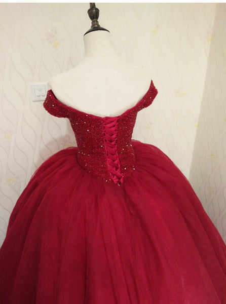 Off Shoulder Wine Red Sweetheart Quinceanera Dress, Handmade Formal Gown 2019