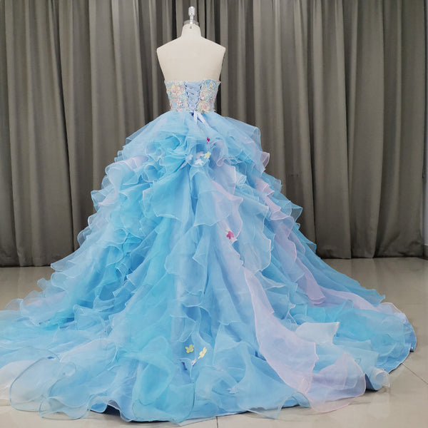Gorgeous Organza Flowers Blue Sweet 16 Gown, Handmade Party Dress 2020