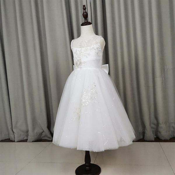 Cute White Tulle with Lace Applique Flower Girl Dress, Wedding Party Dress
