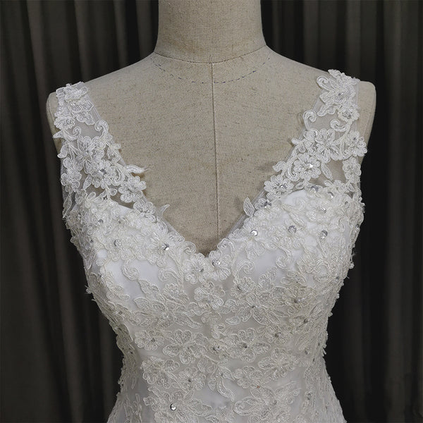 Elegant V-neckline Mermaid Lace Long Wedding Dress, Beach Bridal Gown