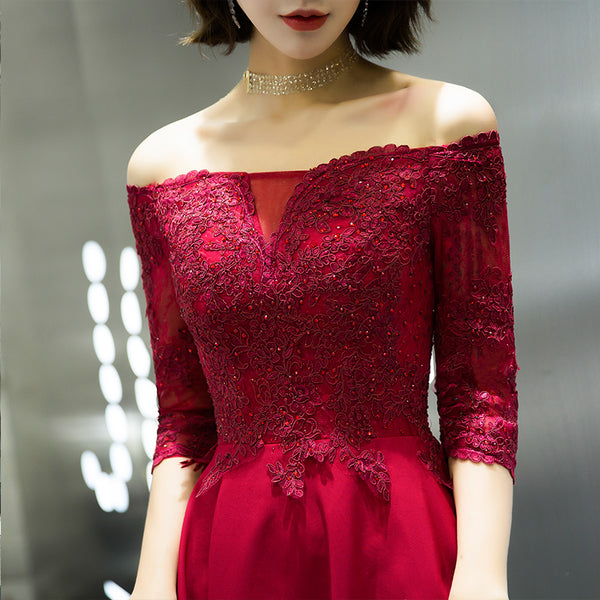 Beautiful Dark Red Off Shoulder Party Dress, New Style Prom Dress