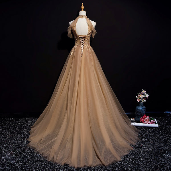 Champagne Tulle Halter Long Party Dress, A-line Formal Gown